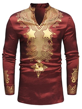 African Fashion Stand Collar Dashiki Print V-Neck Men's Shirt