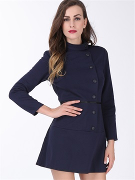 Solid Color Sleeve OL Slim Collar Women's Button Down Dress