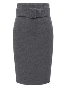 Solid Belt Slim Knee-Length Bodycon Women's Skirt