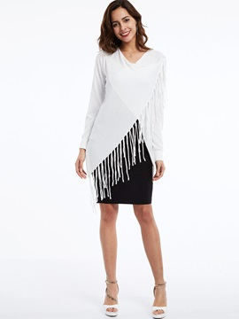 Stylish Tassel Asymmetric Long Sleeve Inclined Women's T-Shirt