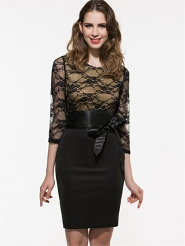 Chic Lace Patchwork 3/4 Sleeve Work Bodycon Dress
