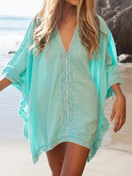 Plain V-Neck Batwing Sleeve Cover-up