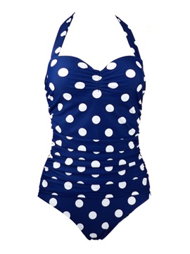 Polka Dots Pleated Lace-Up Monokini