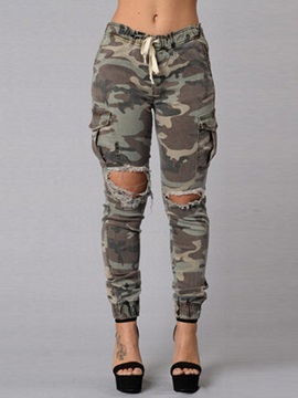 Camouflage Printed Strap Ripped Jeans