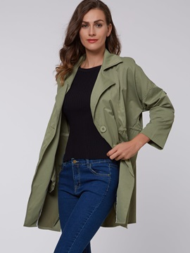 Casual Plain Lapel Loose Trench Coat