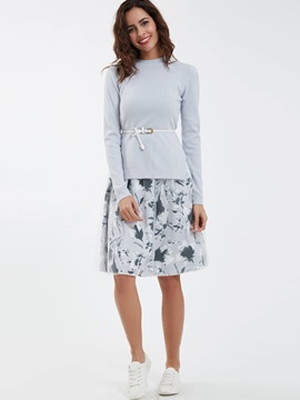 Stand Collar Knitwear And Flower Print Dress Suit