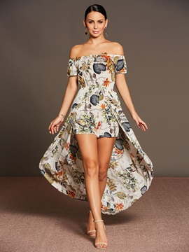 Backless Floral Print Women's Romper