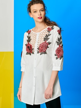 Stylish Flower Decoration Hollow Women's Shirt