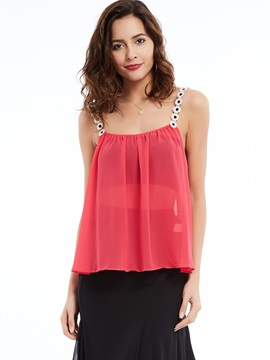 Stylish Solid Color Chiffon Women's Tank Top
