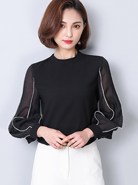 Chic See-Through Puff Sleeve Women's Blouse
