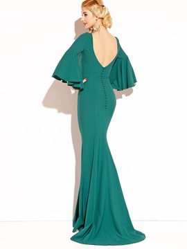 Pure Color Flare Sleeve Mermaid Women's Maxi Dress