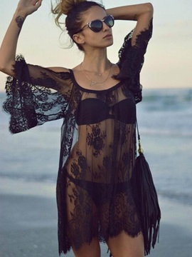 Sexy Lace Flower Cut-Out Cover-Up