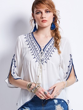 V-Neck Embroidery Half Sleeve Blouse