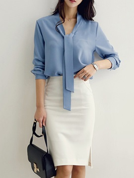 Plain Lace-Up Shirt Knee-Length Skirt Women's 2-Piece Set