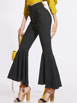 Slim Plain High-Waist Bellbottoms Women's Casual Pants