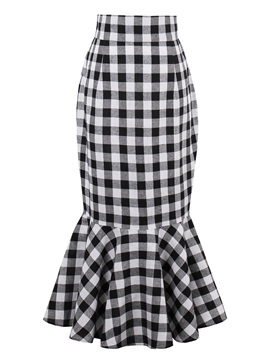 High Waisted Package Buttocks Plaid Women's Skirts