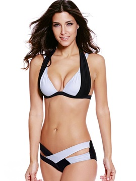Color Block Halter Hollow Bikini Set