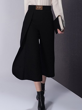 High Waist Wide Legs Ankle Length Women's Casual Pants