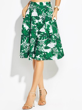Plant Print A-Line Flower Women's Skirt