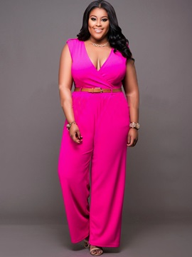 Slim Plus Size Plain Jumpsuit