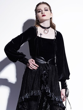 Black Square Neck Lantern Sleeve Women's Blouse