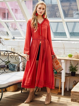 Solid Color Long Sleeve Women's Maxi Dress
