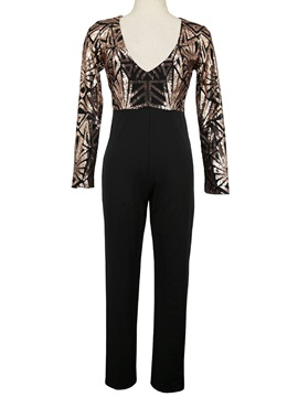 V-Neck Sequins Splicing Slim Women's Jumpsuit