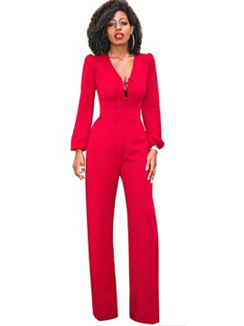 V-Neck Lace-Up Solid Color Women's Jumpsuit