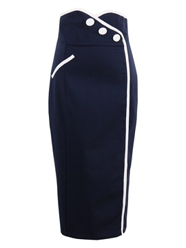 Mid-Calf Waist Button Elegant Women's Skirt