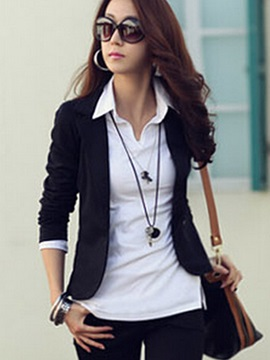 Notched Lapel Short Slim Fit Women's Blazer