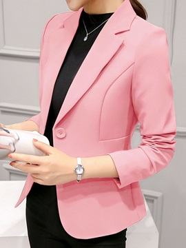 Long Sleeve One Button Women's Blazer