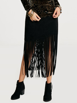 Mid-Calf Tassel Patchwork Plain Women's Skirt