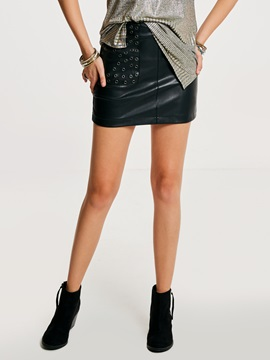 Hollow Plain PU Women's Mini Skirt