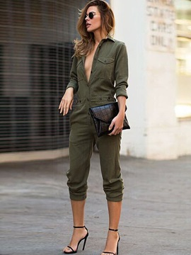 Plain Mid-Waist Shirt Loose Women's Casual Jumpsuit