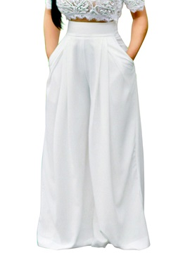 Plain Pleated High-Waist Wide Legs Women's Pants