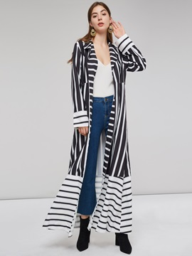 Long Notched Lapel Stripe Lace-Up Women's Trench Coat