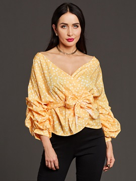 Lace-Up V-Neck Ruffle Sleeve Women's Blouse