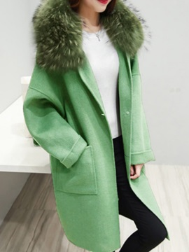 Hooded Faux Fur Long Sleeve Loose One Button Overcoat