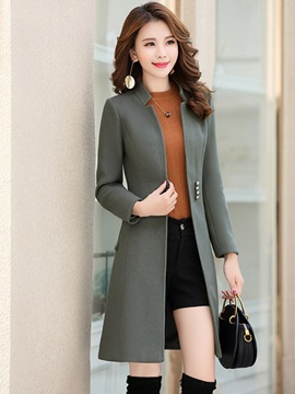 Plain Mid-Length Winter Women's Trench Coat