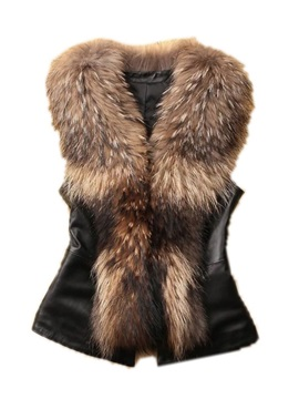 Short Pu Faux Fur Women's Gilet