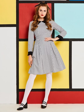 Peter Pan Collar Plaid Lace-Up Women's Skater Dress