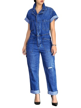 Denim Loose Mid Waist Women's Jumpsuit