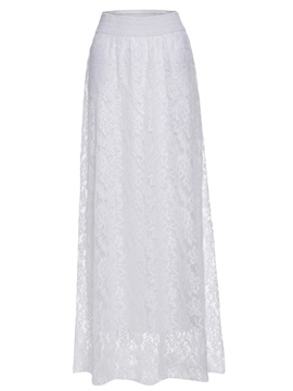 High Waist Plain Lace Floor-Length Women's Skirt