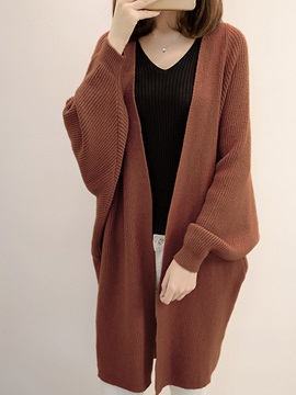 Loose Mid Length Knitted Women's Cardigan