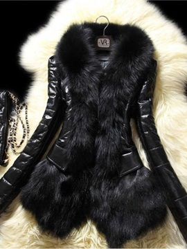 Plain Faux Fur Leather Women's PU Jacket