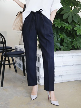 Ankle-Length Lace-Up Stripe Women's Pants