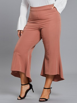 Plus Size Bell Bottom High Waist Plain Women's Pants