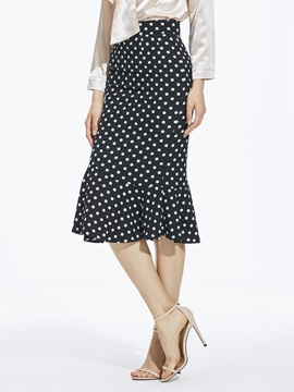 High Waist Mermaid Polka Dots Women's Midi Skirt