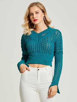 Plain Hole V-Neck Cropped Slim Women's Sweater