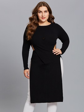 Plus Size Cotton Blends Hollow Long Women's Knitwear
